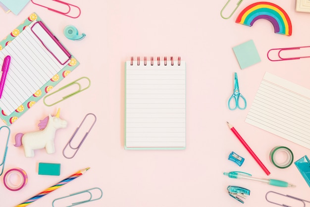 Notebook for text with school supplies