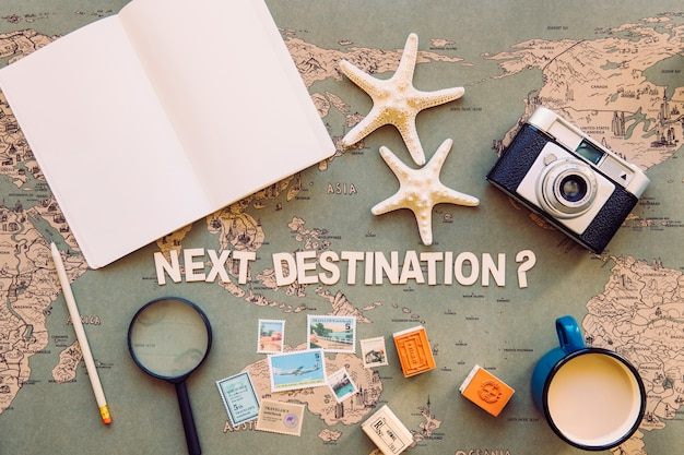 Notebook and tourist stuff around writing