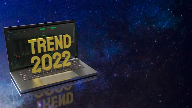 The notebook and trend 2022 gold text for  security concept 3d rendering