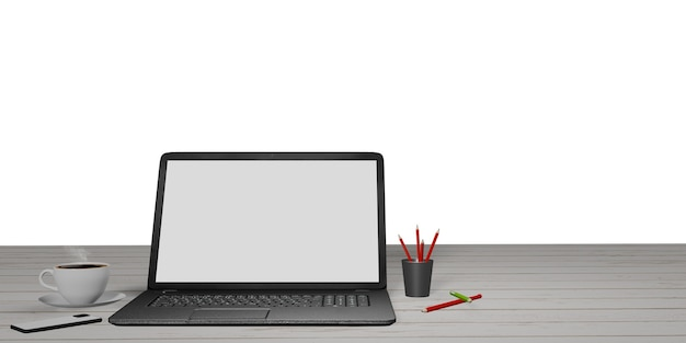 Notebook on white wooden table, pencil, phone and coffee mug ideas for working at home blank laptop screen with cutting path
