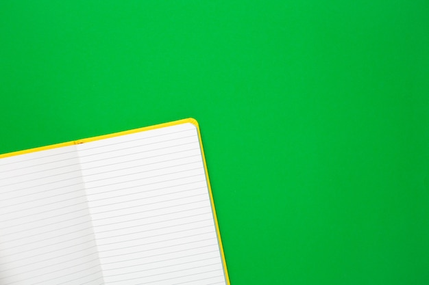 Notebook with blank pages on green