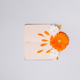 Notebook with bright flowers buds on table