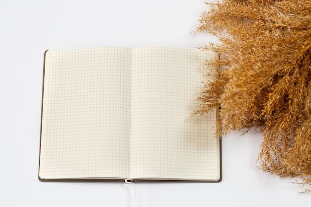 A notebook with clean white sheets for writing with a pen on a white background, crumpled dry branches nearby. record, report, message, letter. place for text