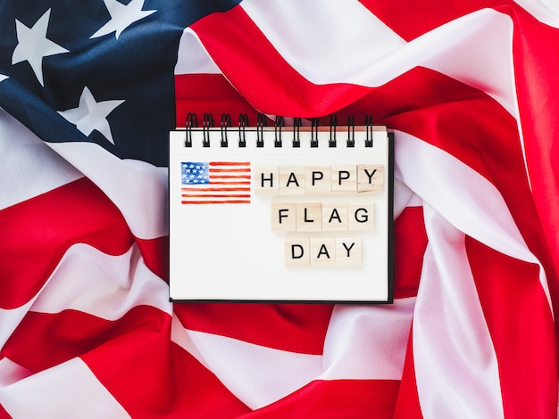 Notebook with congratulations on flag day