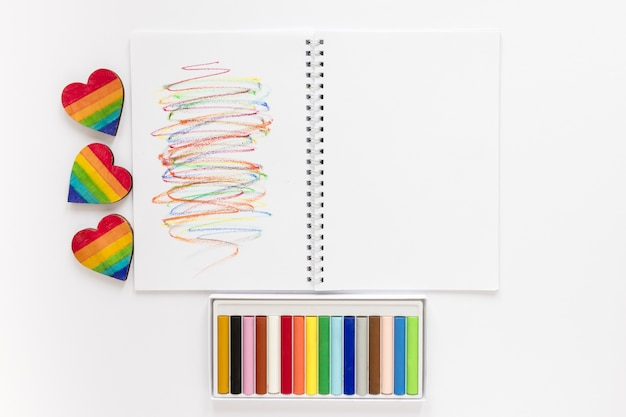 Notebook with crayons