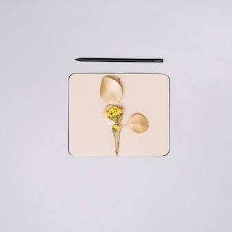 Notebook with flower branch on table