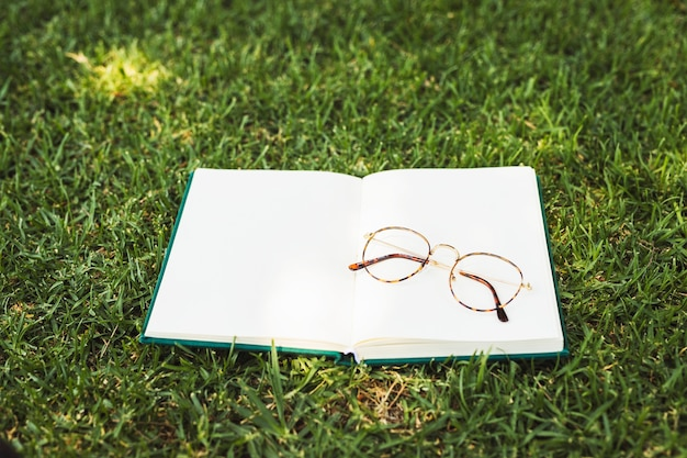Notebook with glasses on grass