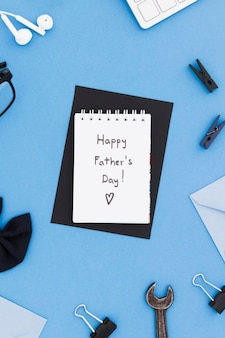 Notebook with message for dad