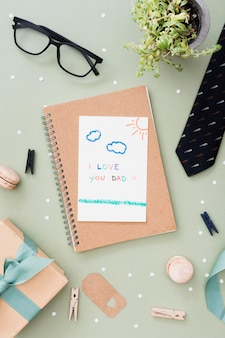 Notebook with message for fathers day