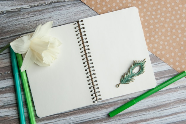 Notebook with a narcissus
