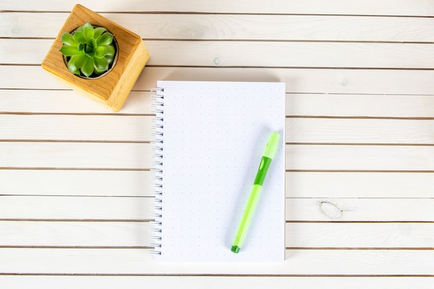 Notebook with pen ad plant in wooden potted on white background