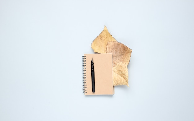 Notebook with pen, fallen autumn leaves on a gray table. autumn inspiration, writing. top view, minimalism