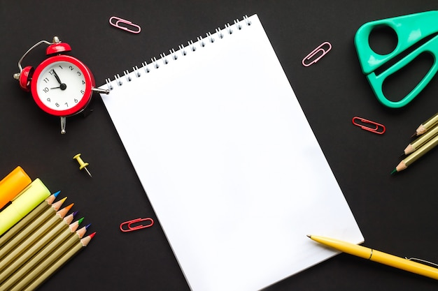 Notebook with pen for writing, back to school concept. school supplie