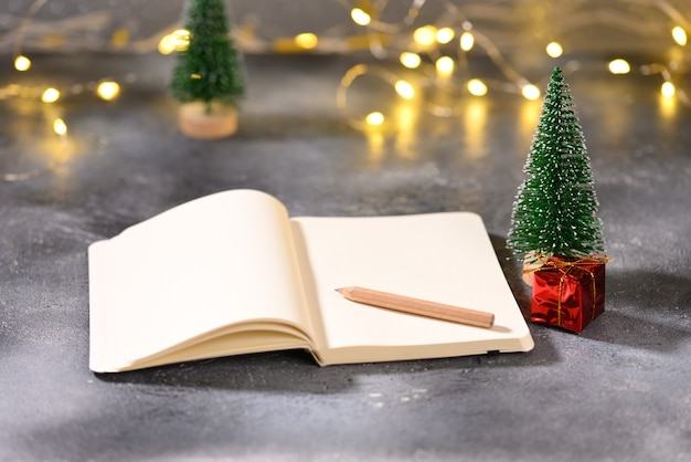 Notebook with space for text on the christmas theme