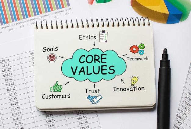핵심 가치에 대한 도구 및 메모가 포함 된 노트북