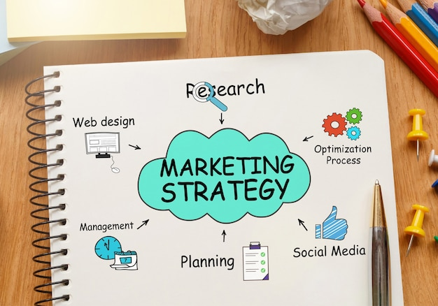 도구가 포함 된 노트북 및 마케팅 전략에 대한 메모