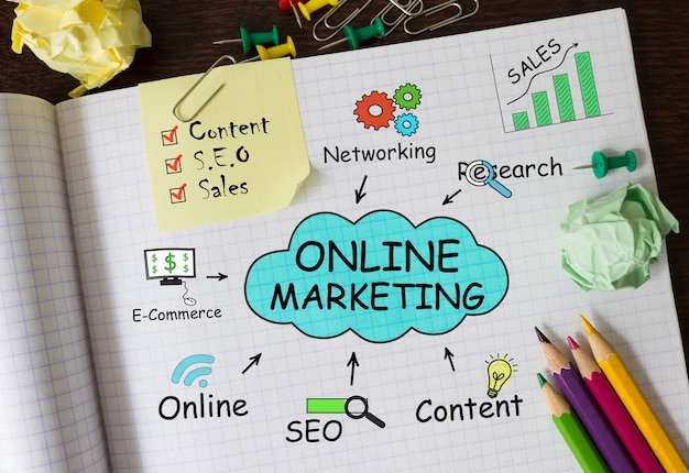온라인 마케팅, 개념에 대한 도구 및 메모가있는 노트북