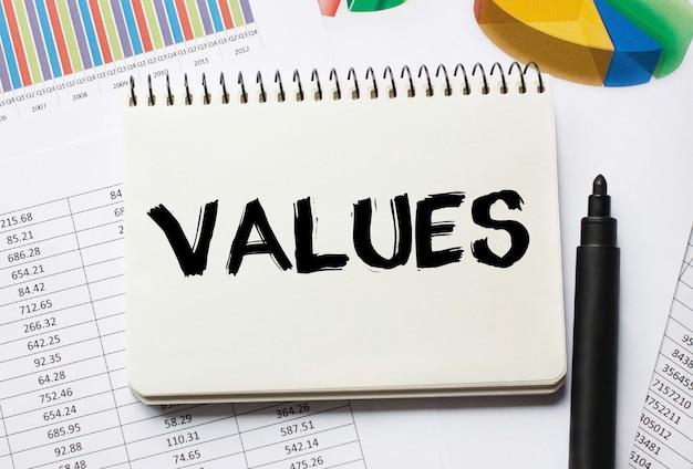 Блокнот с toolls и заметками о ценностях