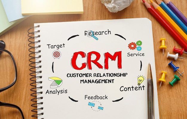 Notebook with toolls and notes about crm,concept