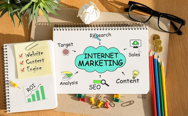 Notebook with toolls and notes about internet marketing