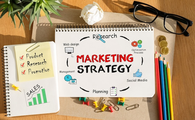 Notebook with toolls and notes about marketing strategy