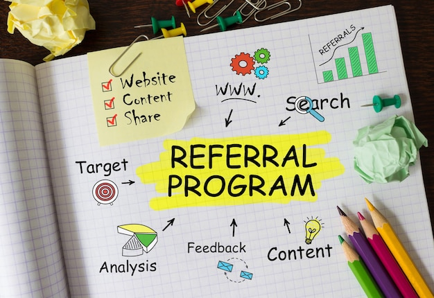 Notebook with toolls and notes about referral program,concept
