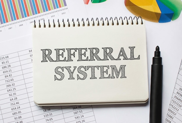 Notebook with toolls and notes about referral system