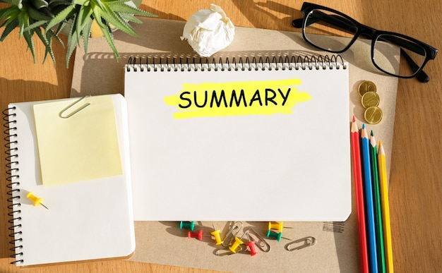 Notebook with toolls and notes about summary