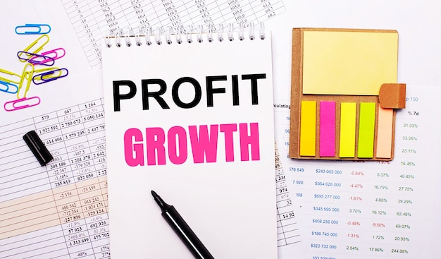 A notebook with the words profit growth, a marker, colored paper clips and bright note paper lie on the background of the graphs.