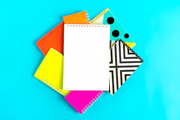 Notebooks on blue back to school