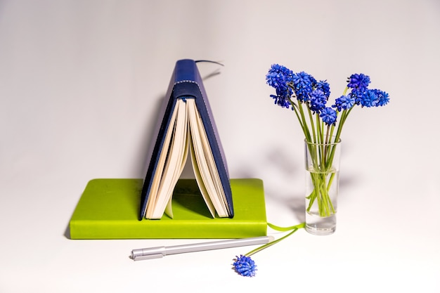 Notebooks and blue muscari flowers on a white background