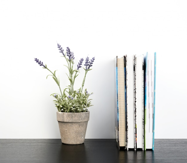 Notebooks with white pages and ceramic pots with plants