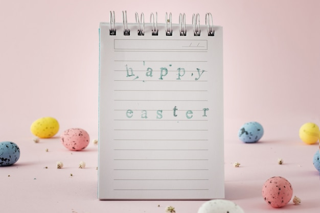 Notepad paper with beautiful easter greeting