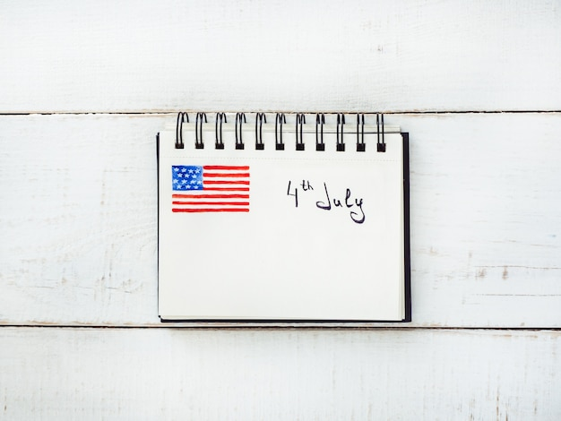 Notepad with the inscription 4th july