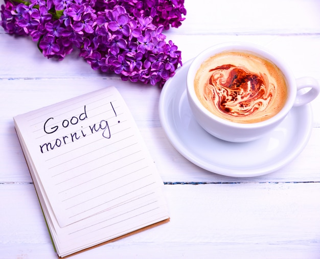 Notepad with the inscription of good morning