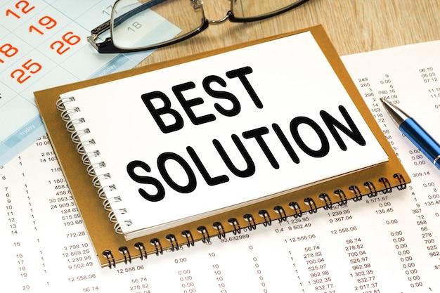 Блокнот с текстом лучшее решение. бизнес-концепция