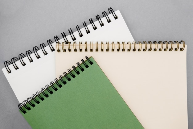 Notepads on background with copy space.