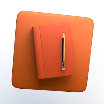 Notes icon with notebook and pencil on isolated white background. 3d illustration. app.
