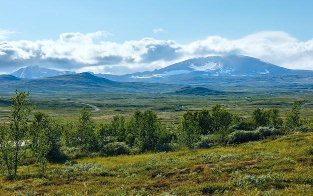 北ノルウェー山ツンドラ渓谷の夏の景色。