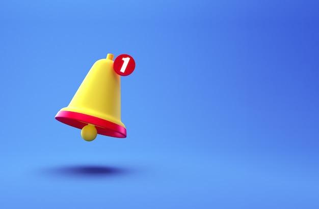 通知ベルクリエイティブコンセプト。青い背景に分離された漫画の最小限のオレンジ色のリンギングベルアイコン。 1つの新しい通知の概念。テキスト用のコピースペースを持つソーシャルメディア要素。 3dレンダリング