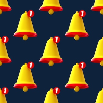 Notification bell seamless pattern on blue background.