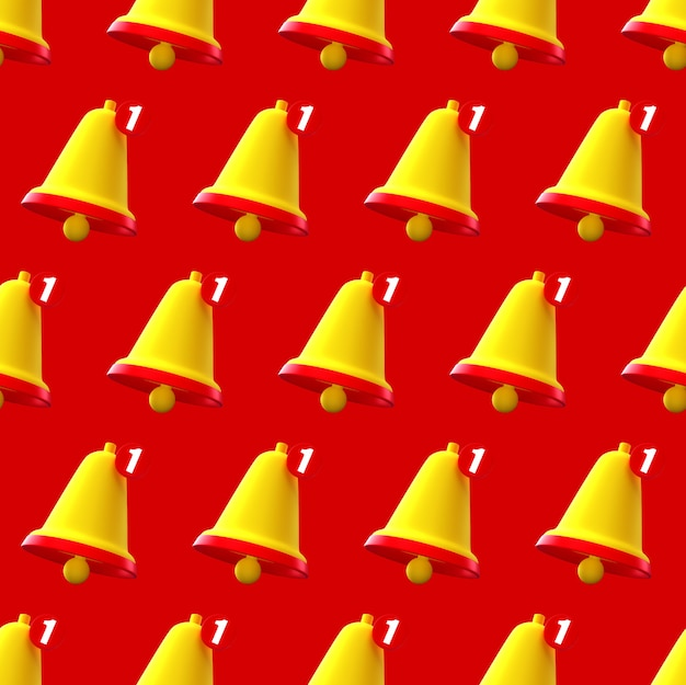 Notification bell seamless pattern on red background.