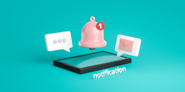 Notification message bell icon alert and alarm on pastel color background