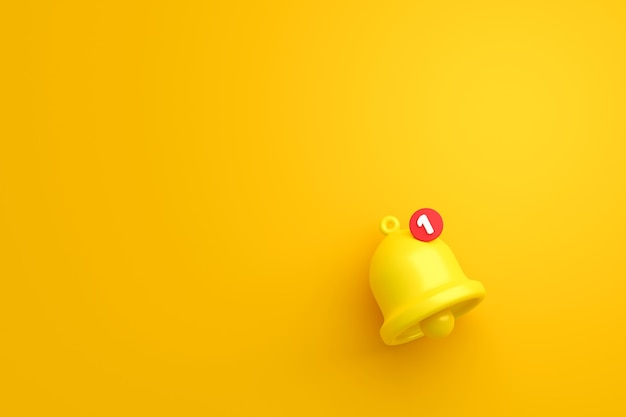 Notification message bell icon alert and alarm on yellow background
