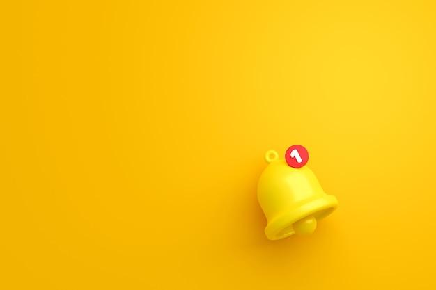 黄色の背景に通知メッセージベルアイコンアラートとアラーム