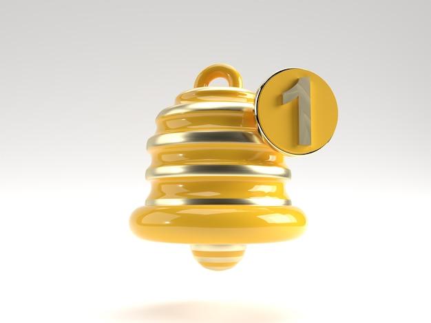 Notification - minimal message bell icon alert and alarm social media element. 3d rendering.