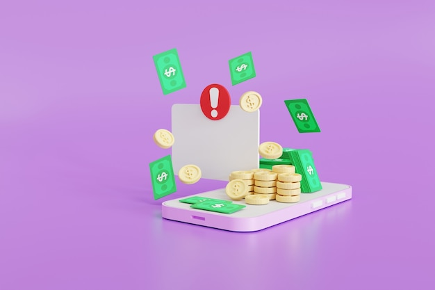 알림, 스마트폰의 응용 프로그램, 배경 3d 그림, 배너, 광고에 대한 개념 안팎의 돈
