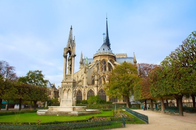 Notre dame cathedral church in paris, france