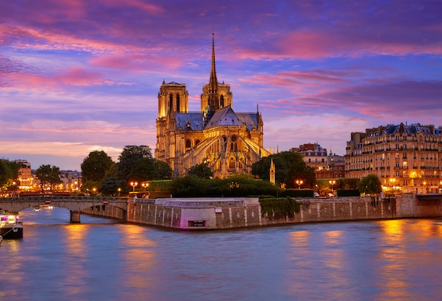 Notre dame cathedral paris sunset at seine