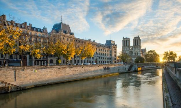 Notre dame de paris and seine river in paris, france